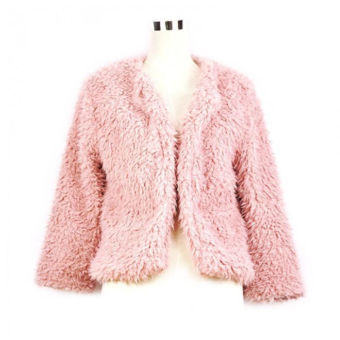 Abrigo de pelo rosa palo